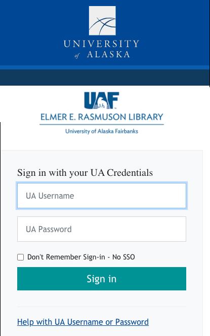 Screenshot of Rasmuson Library database login page