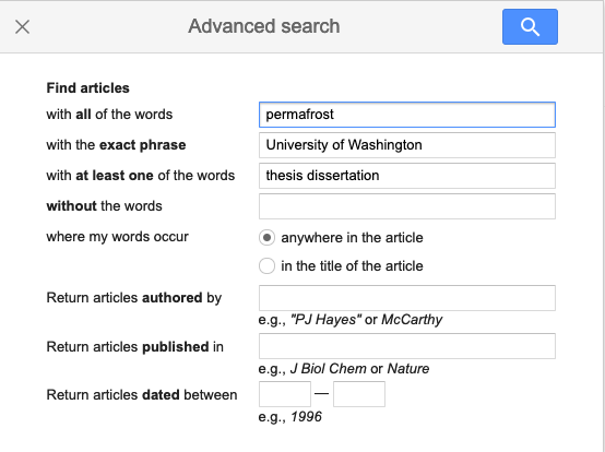 Example of searching for theses in Google Scholar Advanced Search