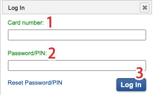 Login using your library card number and password/pin