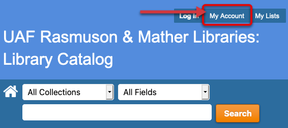 On the Library Catalog page click My Account