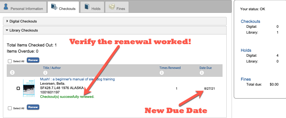 Verify the renewal worked
