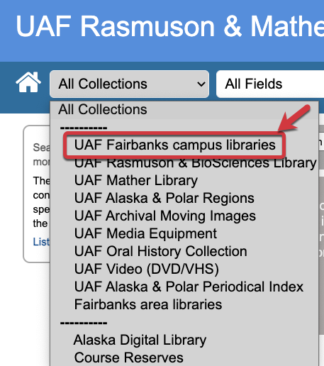 Screenshot of limiting your search to the UAF Fairbanks campus libraries