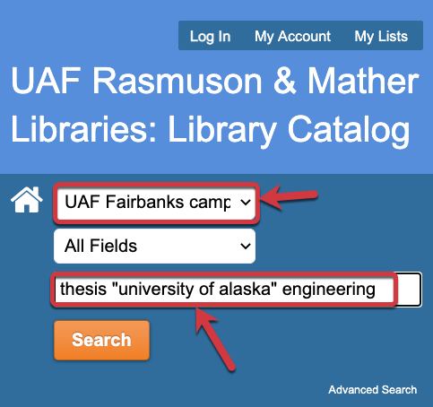 Example search for a thesis in the library catalog