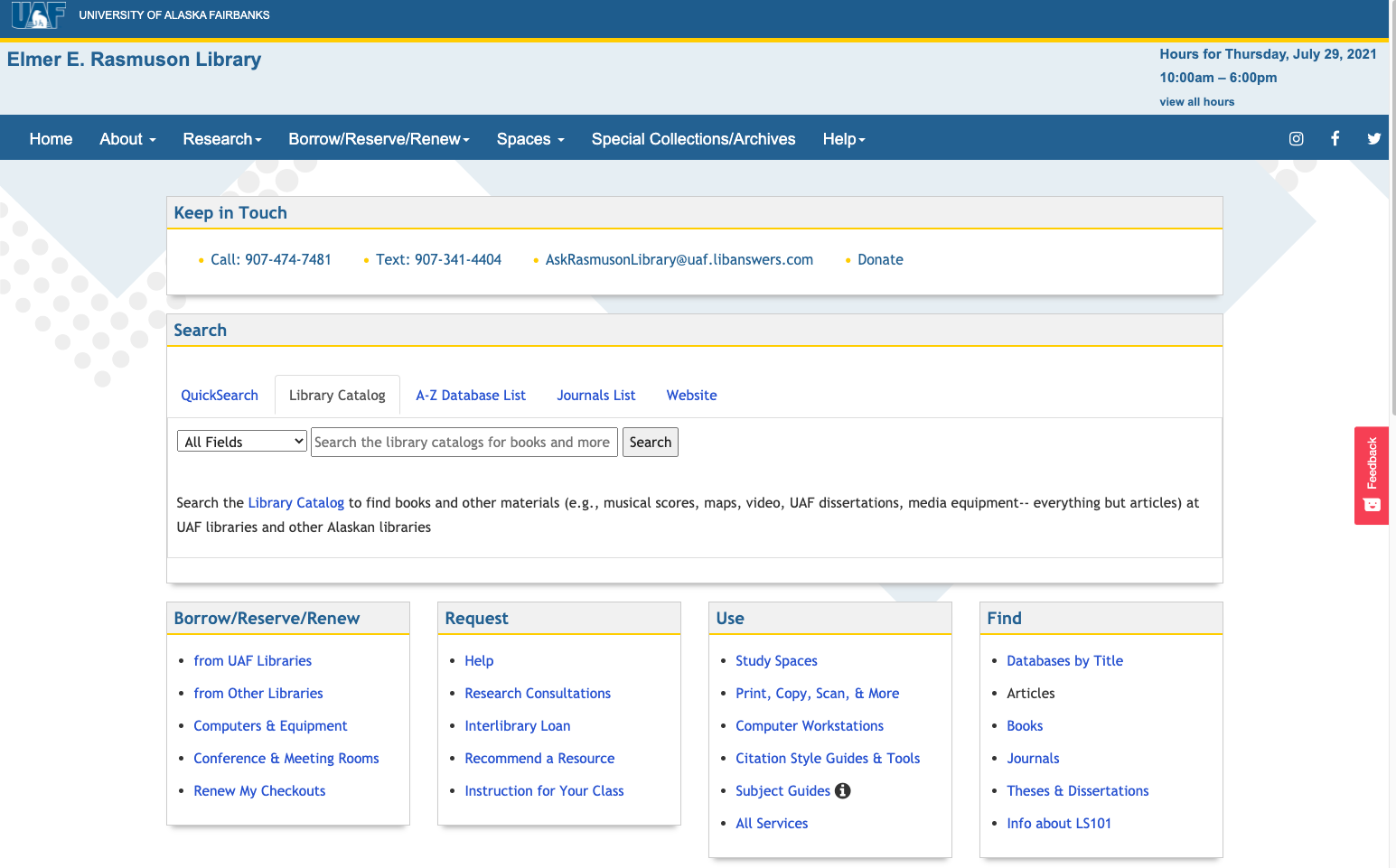 Screenshot of the new library website