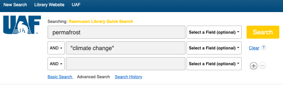 Screenshot of the QuickSearch's Advanced search page