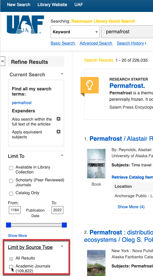 Use filters to refine your search