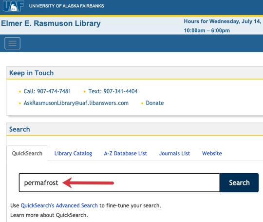 Screenshot of using Quicksearch