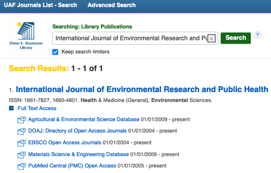 Searching the UAF Journals List