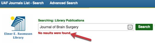 No Results Found in the UAF Journals List