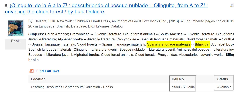 """sample search result showing the book """"Olinguito, de la A a la Z"""""""