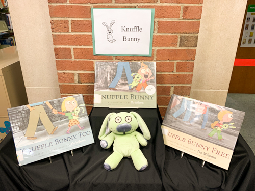 photo of Knuffle Bunny doll and books