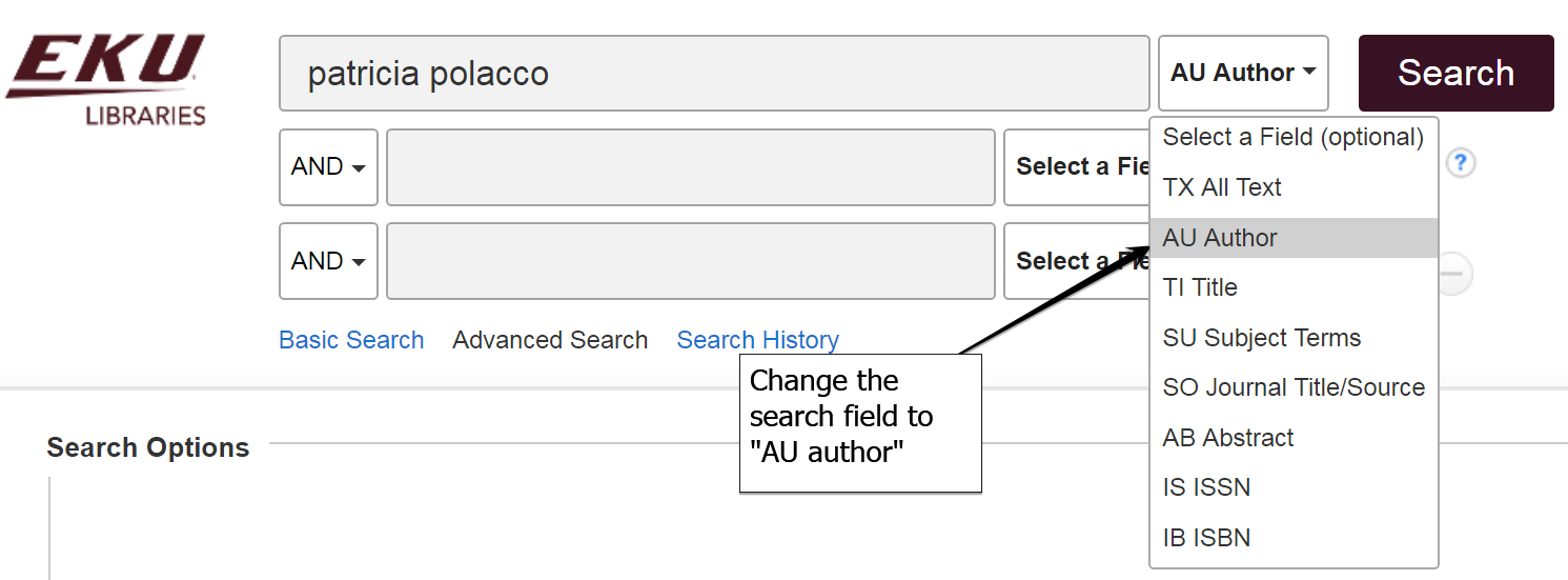 example advanced search page showing and author search for Patricia Polacco