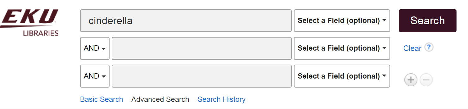 "example advanced search box for keyword search for ""Cinderella"""
