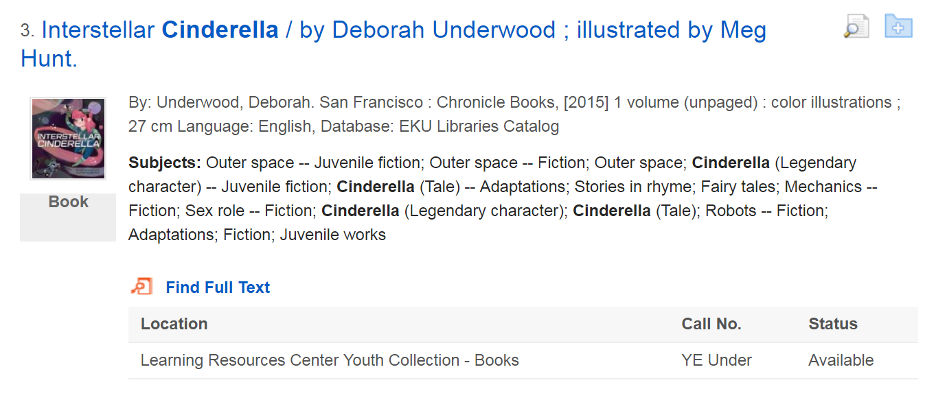 "sample search result showing the book ""Interstellar Cinderella"""