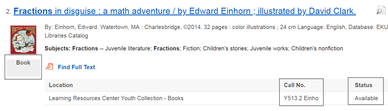 "sample search result showing the book ""Fractions in Disguise"""