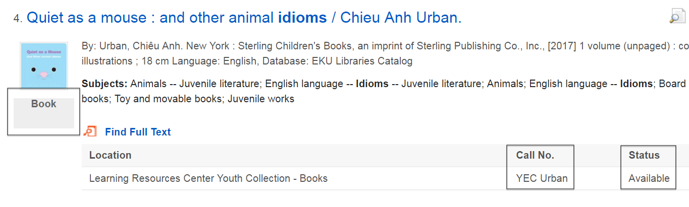 """sample search result for the book """"Quiet as a Mouse"""""""