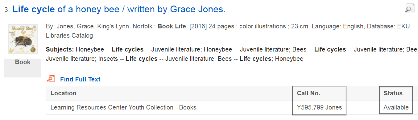 "sample search result for the book ""life cycle of a honey bee"""