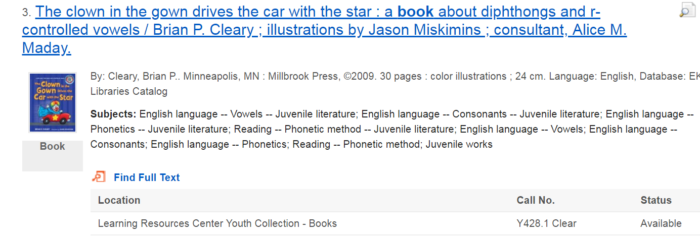 "sample search result showing the book ""The clown in the gown drives the car with the star"""