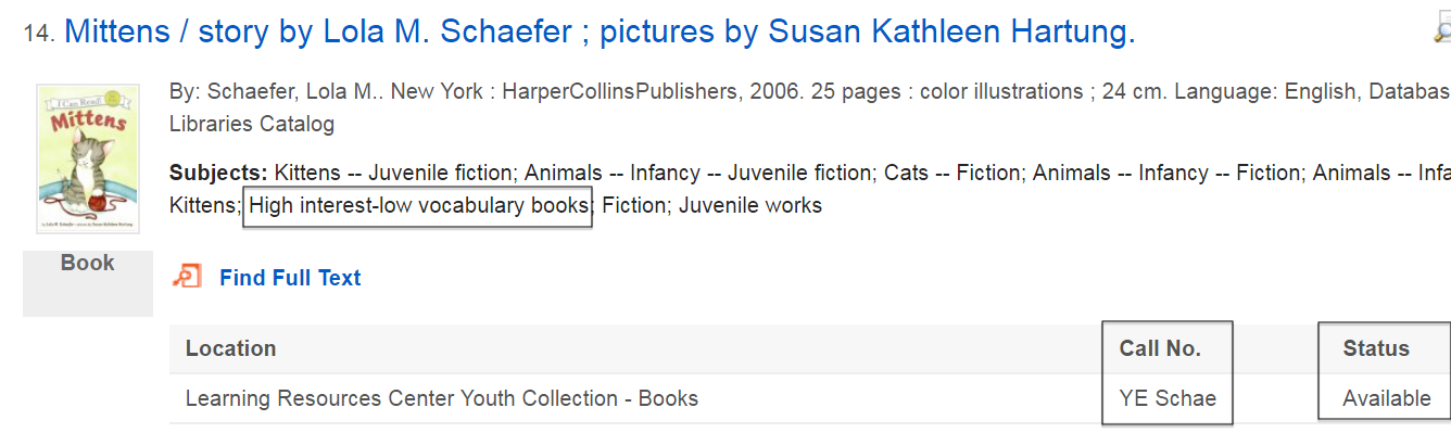 "sample search result showing the book ""Mittens"""