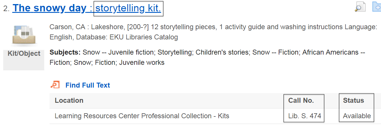 "sample search result for ""The Snowy Day"" storytelling kit"