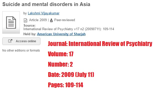 Journal: International review of psychiatry. Volume 17, number 2, date July 2009, pages 109-114