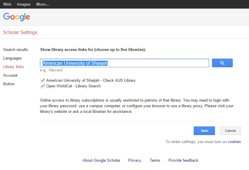 Show library access links for: American University of Sharjah