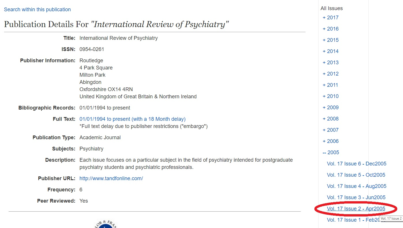 International Review of Psychiatry 2005 volume 17 issue 2