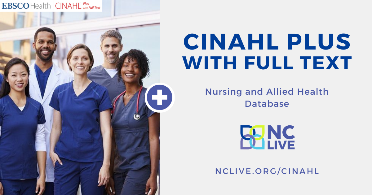 Advertisement for CINHAL plus nursing and allied health database