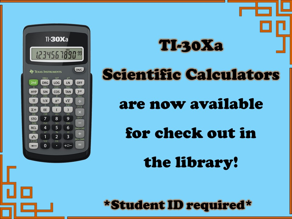 Graphic text advertising calculator checkouts in the library