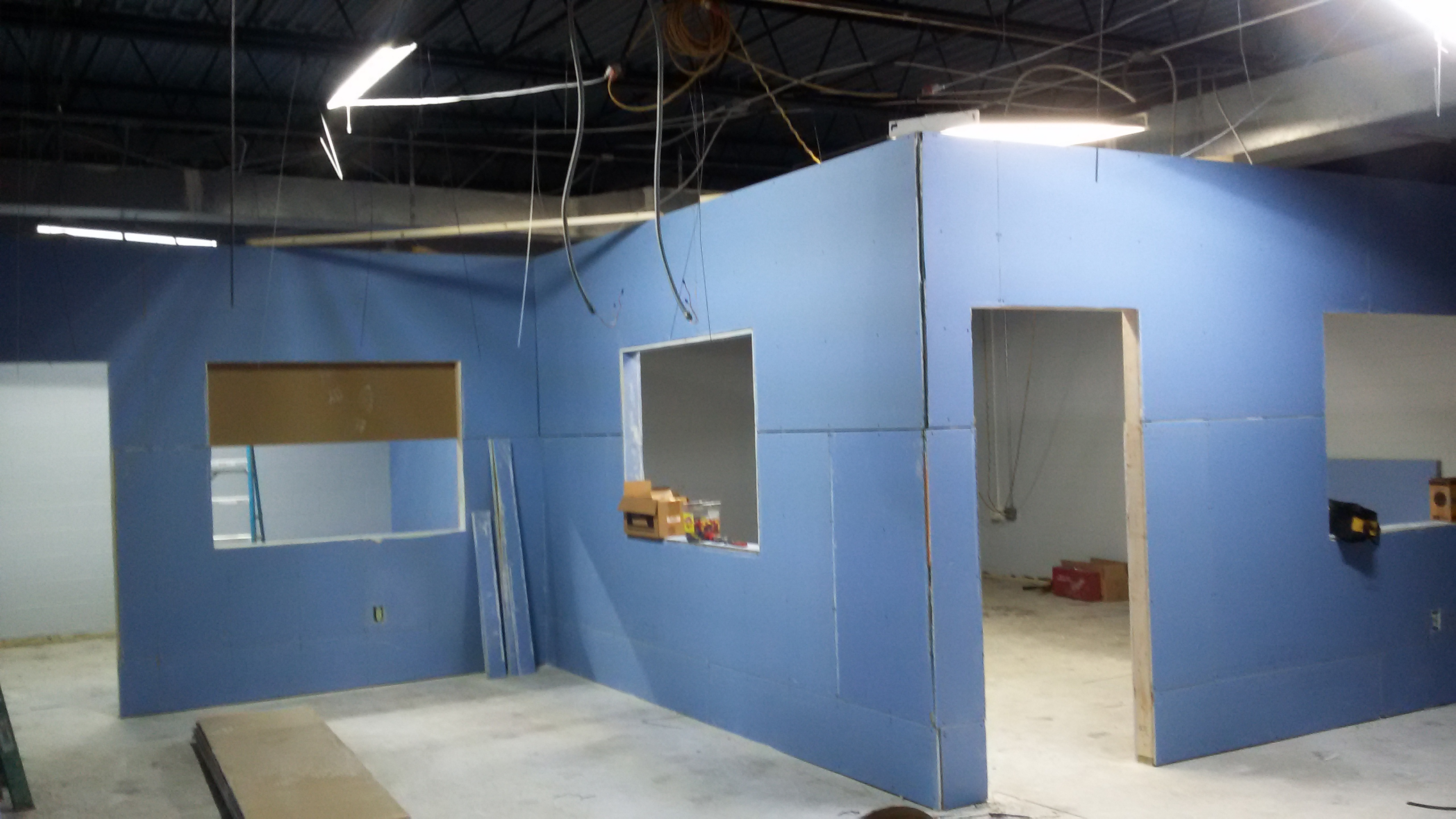 Drywall goes up