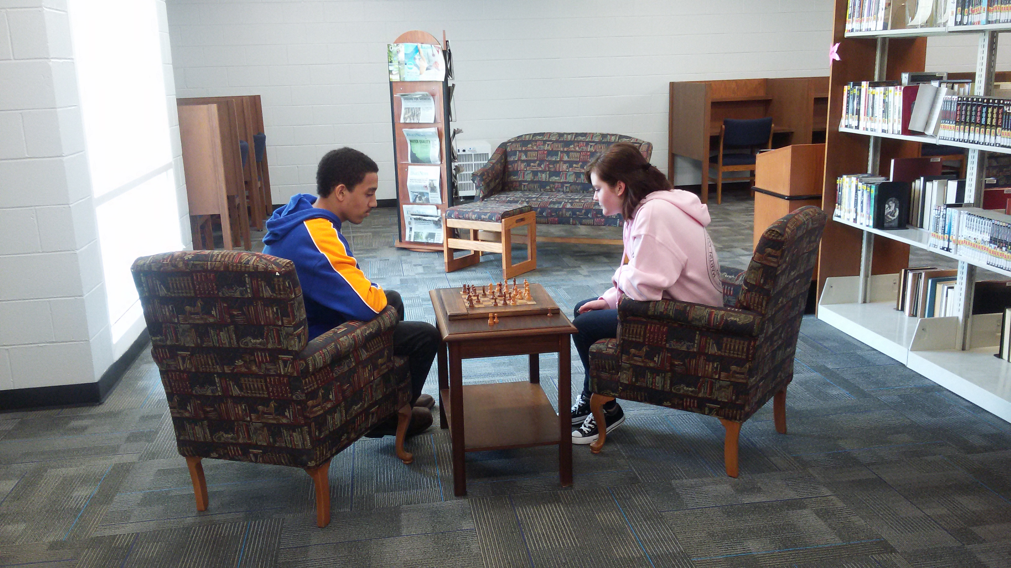 Playing chess in the new seating area