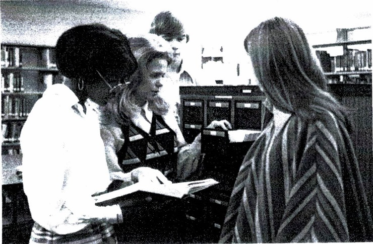 Students with Library Card Catalog 1970s