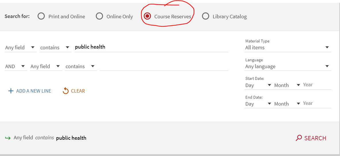 screenshot of advanced search with course reserves radio button selected.