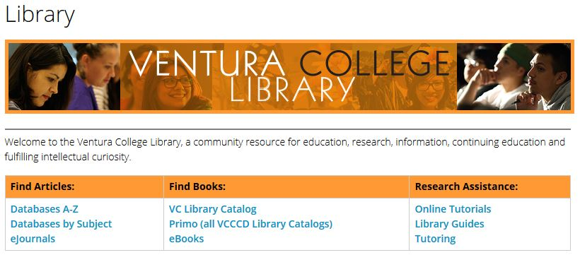 Ventura College Library Home Page