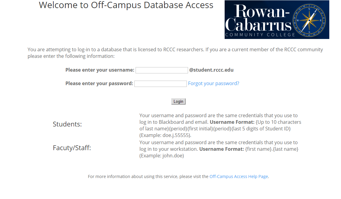 Picture of Login page for off-campus access