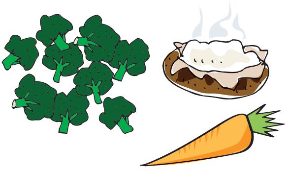 Cartoon image of broccoli, a carrot, and a baked potato