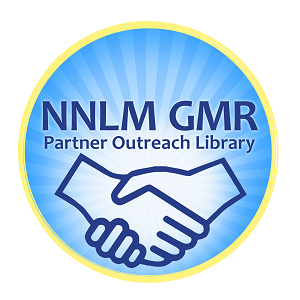 NNLM GMR Partner Outreach Library badge includes line-drawing of 2 hands shaking