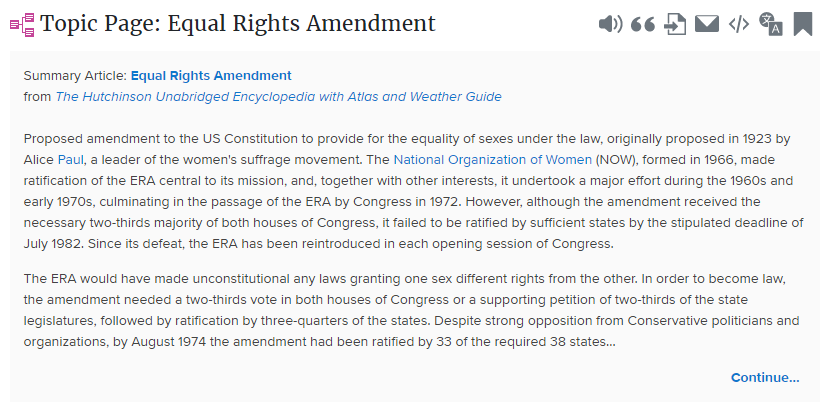 Topic Page Equal Rights Amendment Credo Reference