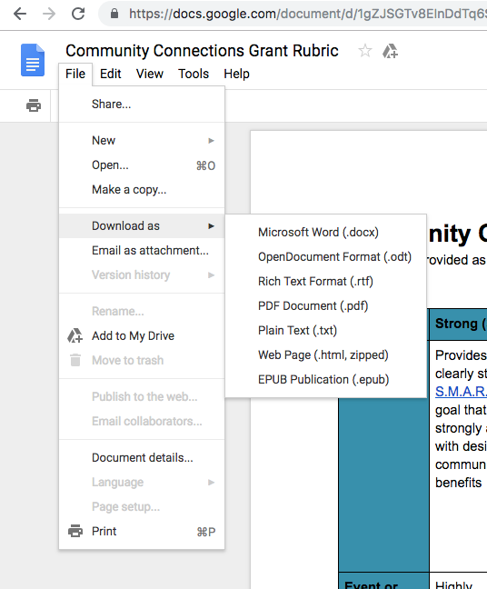 File download as PDF on Google Docs