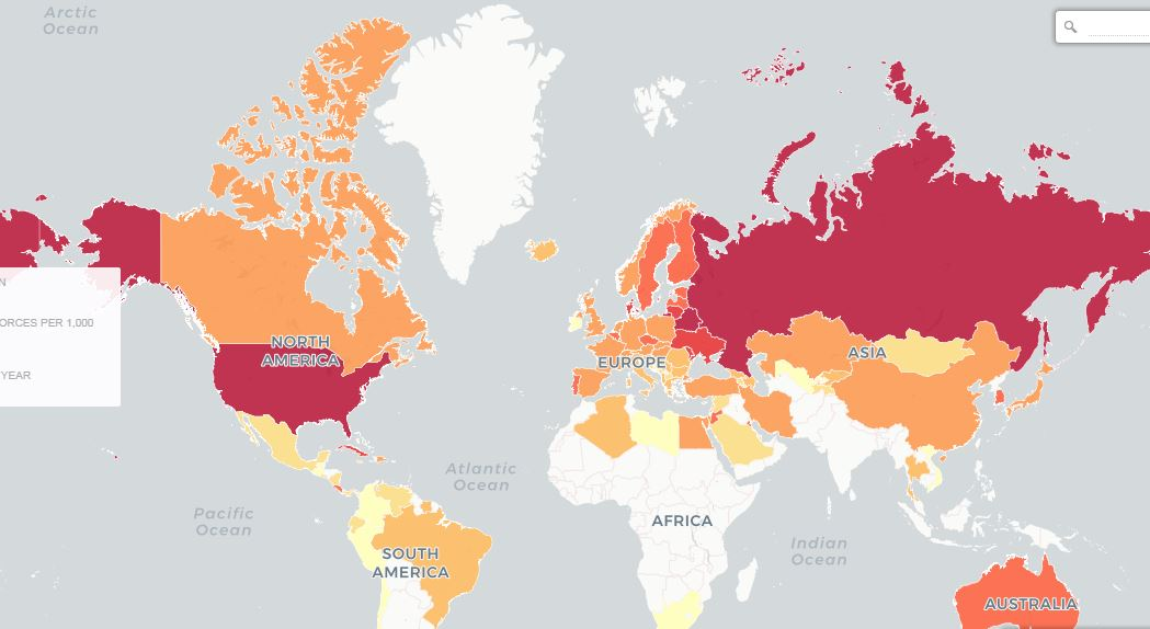 Map of countries with highest divorce rate