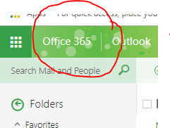 Screenshot of email with Office365 circled