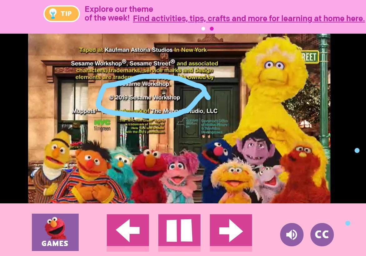 screenshot of credits of sesame street with copyright circled