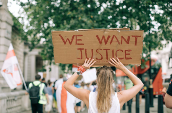 picture of girl at social justice rally