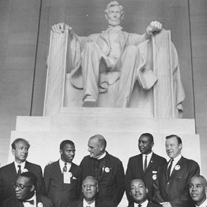Civil Rights leaders in front of Lincoln Memorial