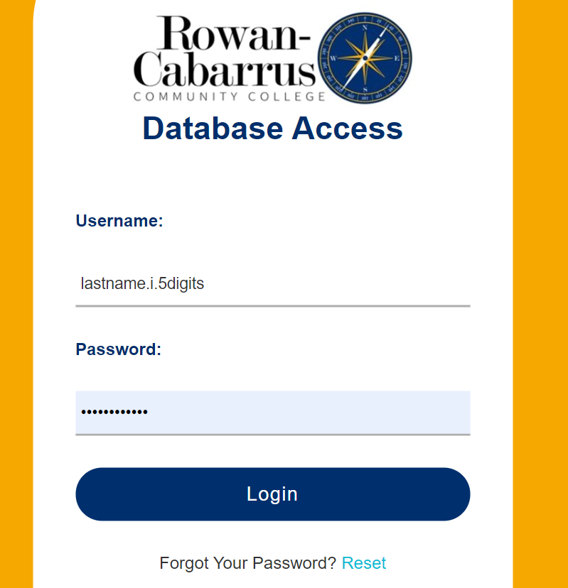 screen showing database access
