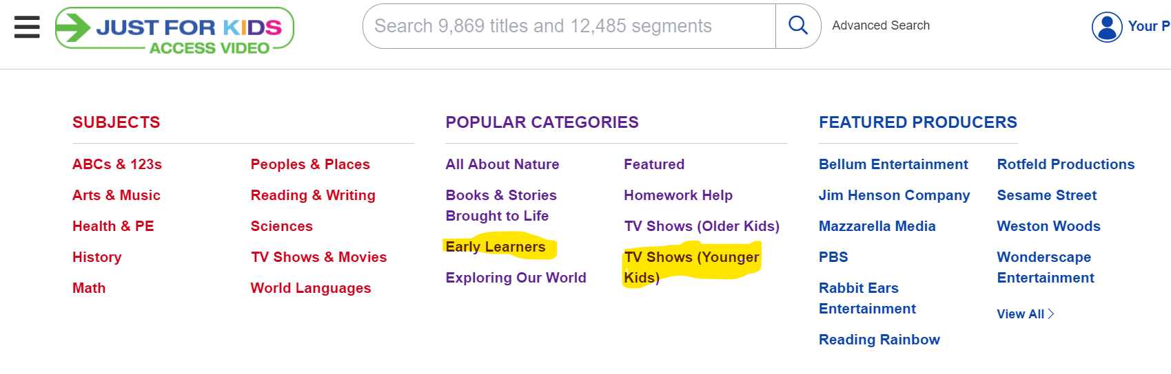 Use the Categories section to get tv shows for young viewers.