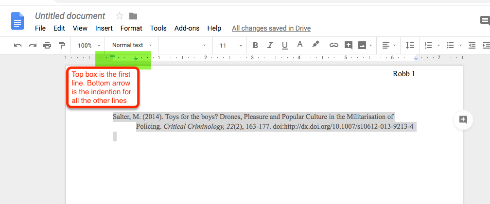 Screen shot of hanging indents in Google docs