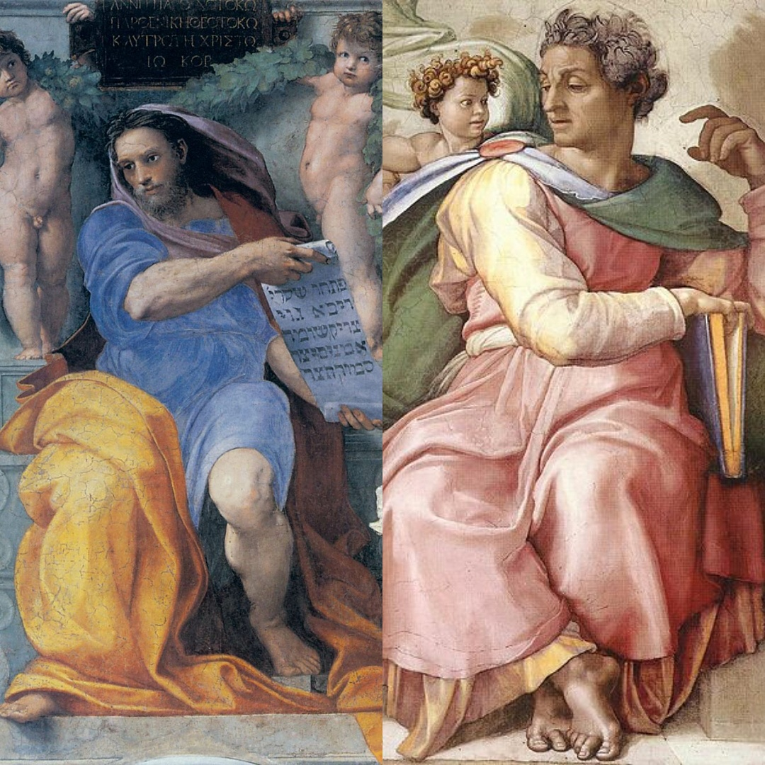 Picture of Raphael's and Michaelangelo's paintings