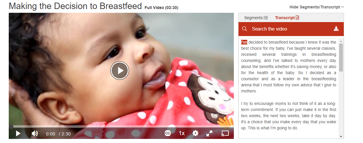 screenshot of video making decision to breastfeed