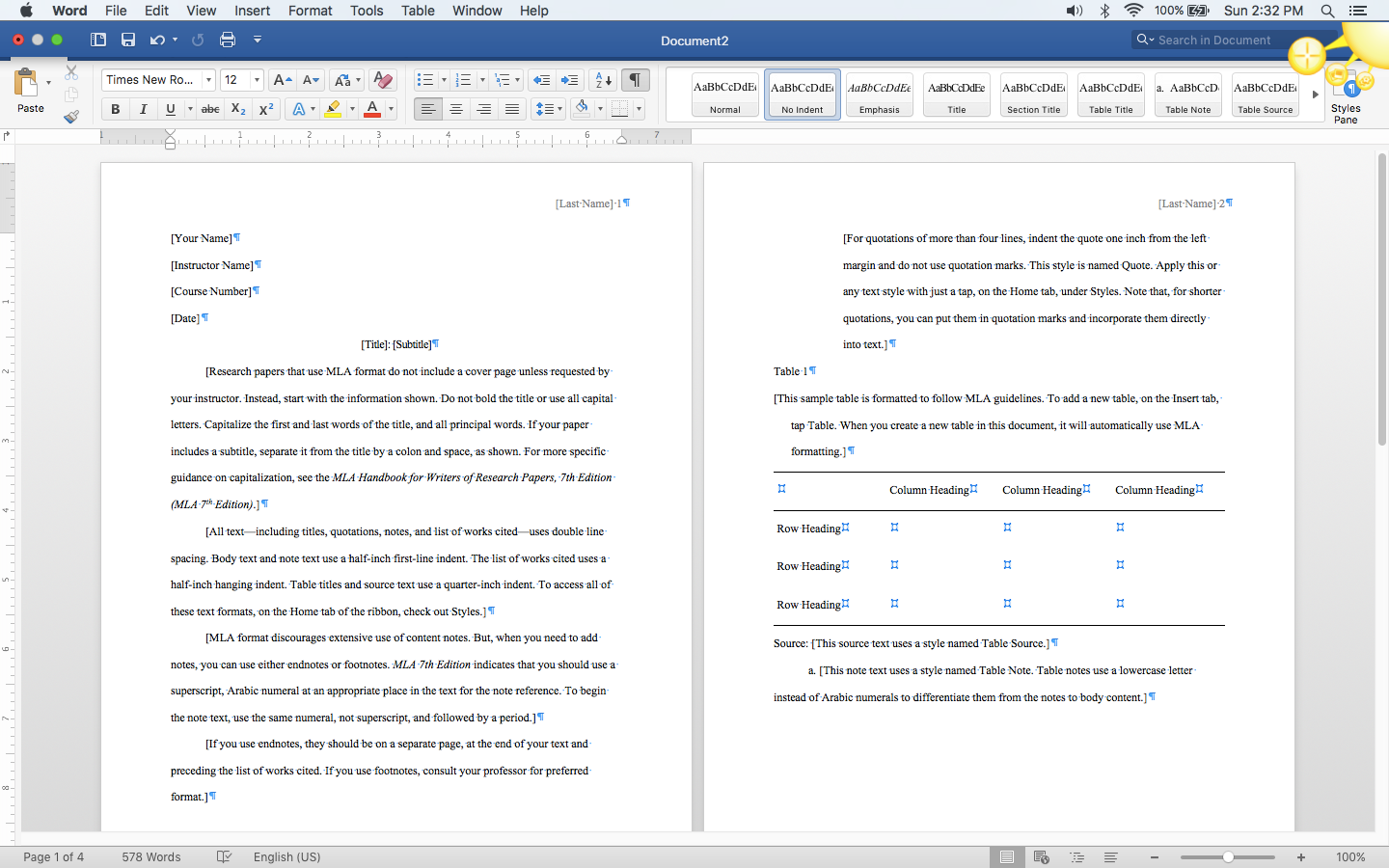 screenshot of MLA template in Word